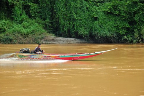 Fast speedboat on the Mekong River, Laos