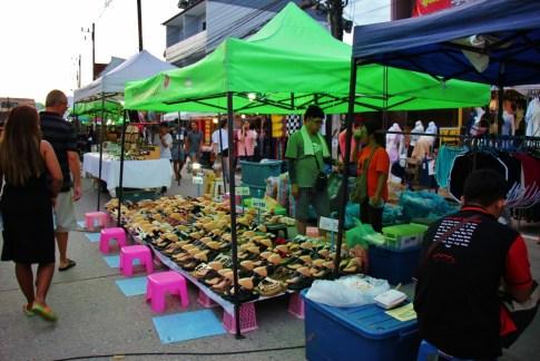 Booths at Sunday Walking Street Market in Chiang Rai, Thailand