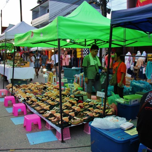 Booths at Sunday Walking Street Market in Chiang Rai, Thailand