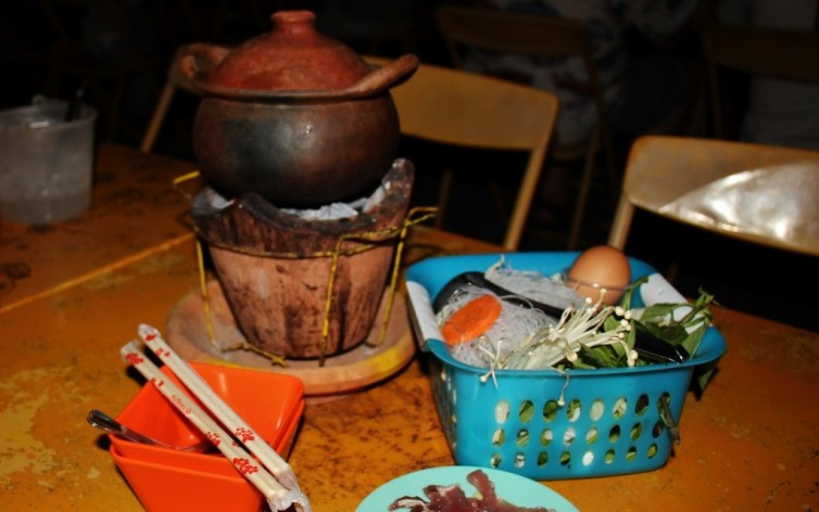 Hot Pot meal at Night Market in Chiang Rai, Thailand