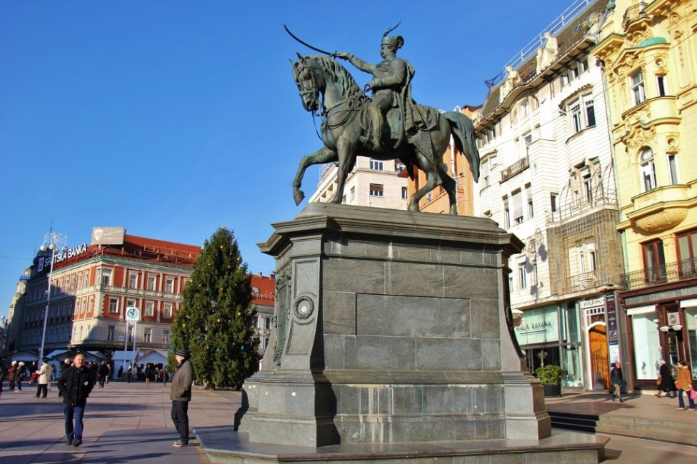 Statue of Ban Jelacic on main square in Zagreb, Croatia