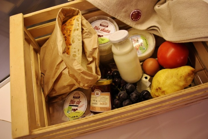 Morning breakfast basket delivered to glamping hut at Big Berry Resort in Bela Krajina, Slovenia