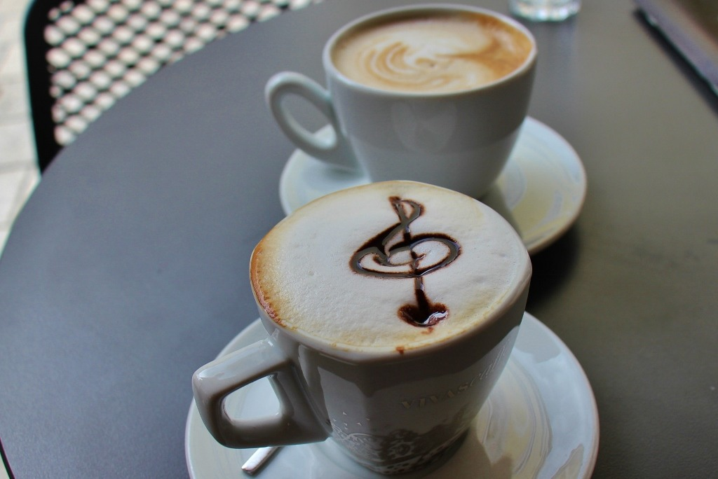Cup of coffee at cafe in Zagreb, Croatia