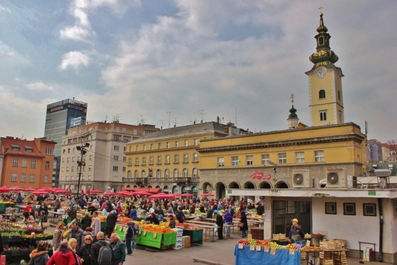 Dolac Market farmer's market in Zagreb, Croatia