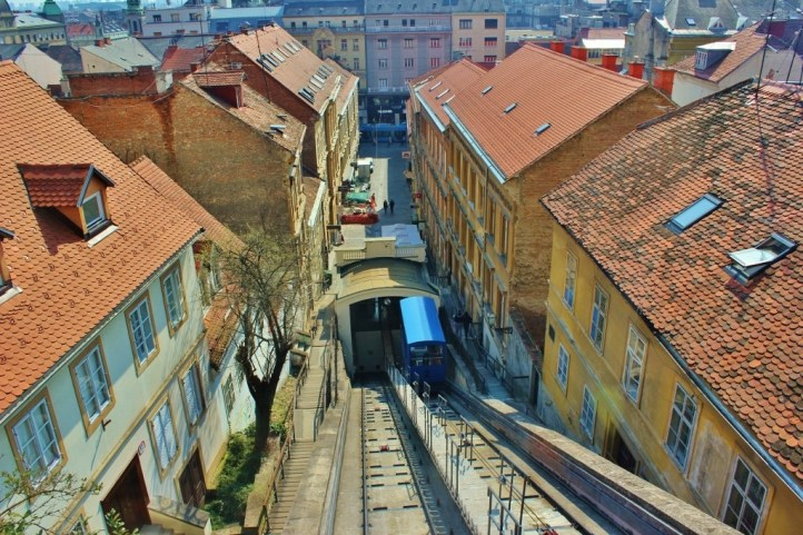 Funicular on tracks in Zagreb, Croatia