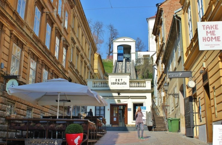 Entrance to funicular in Zagreb, Croatia