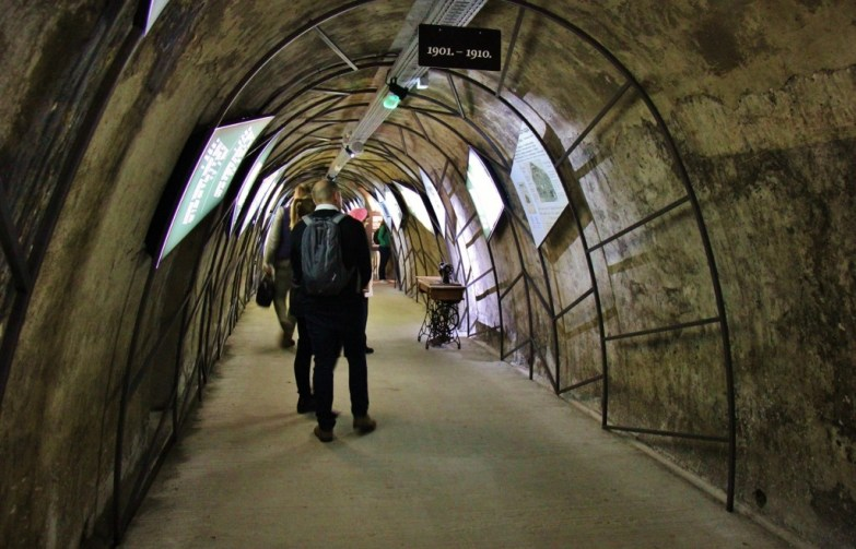 History of Zagreb Museum Exhibit inside Gric Tunnel in Zagreb, Croatia