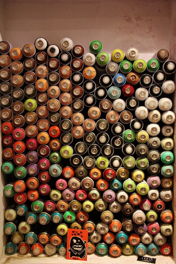 Stacked spray paint cans in Zagreb, Croatia