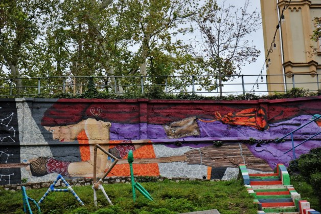 Street Art mural at Art Park in Zagreb, Croatia