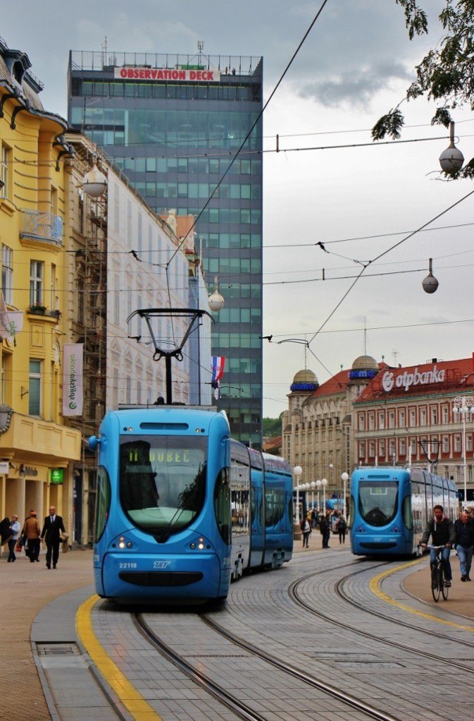 New blue trams in Zagreb, Croatia