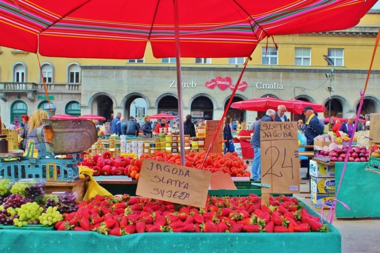 Produce for sale at Dolac Market in Zagreb, Croatia
