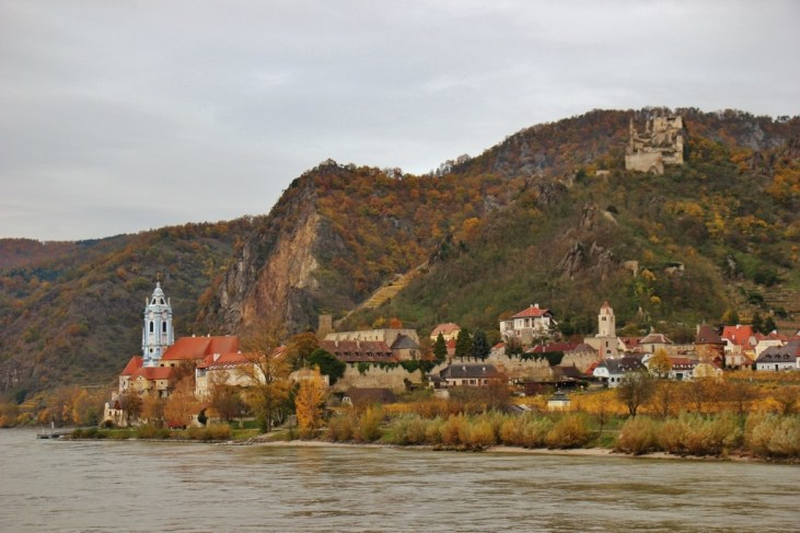 Blue Abbey and Burguine Durnstein castle in Wachau Valley, Austria