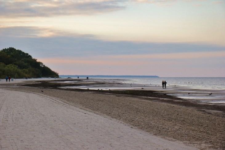 Sunset on beach in Jurmala, Latvia