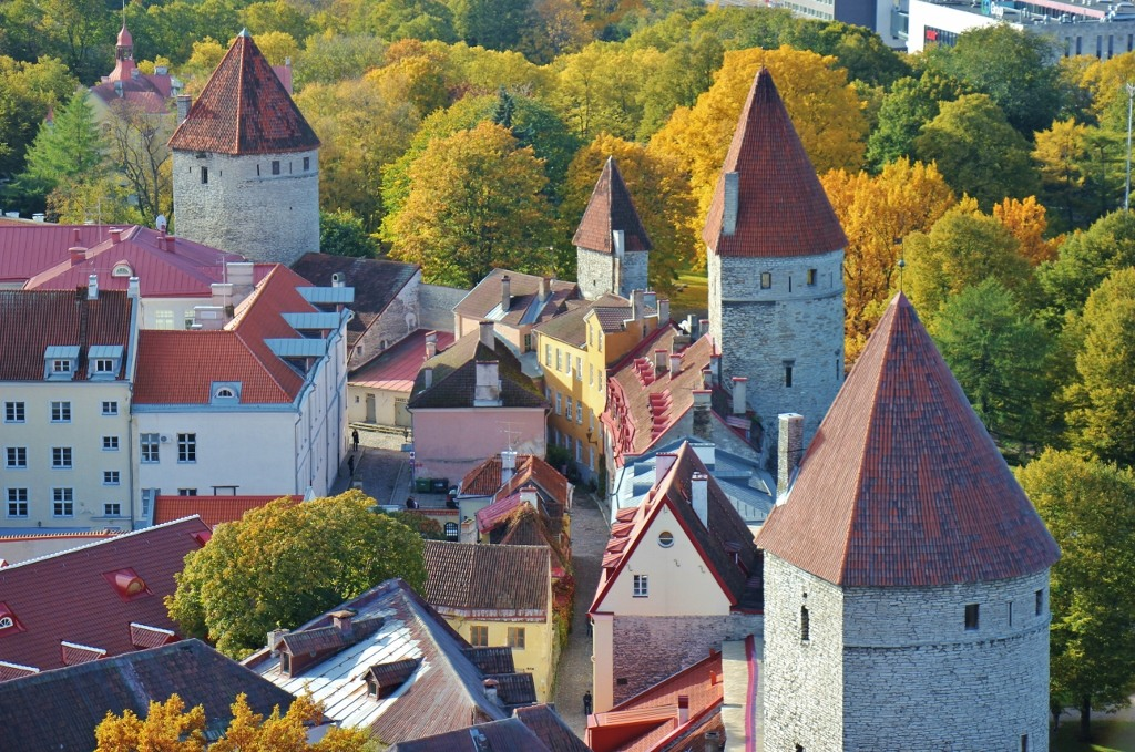 Old city walls and watchtowers in Tallinn, Estonia