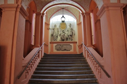 Pink Imperial Staircase at Melk Abbey in Melk, Austria