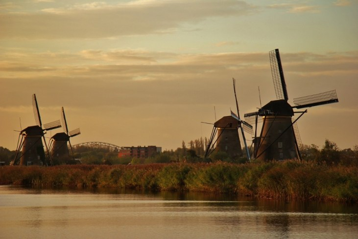 Kinderdijk Windmills along the canal at Kinderdijk, Netherlands