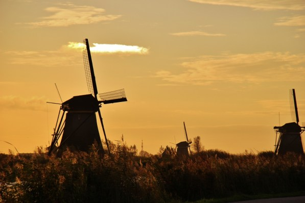 Sunrise at Kinderdijk Windmills in the Netherlands