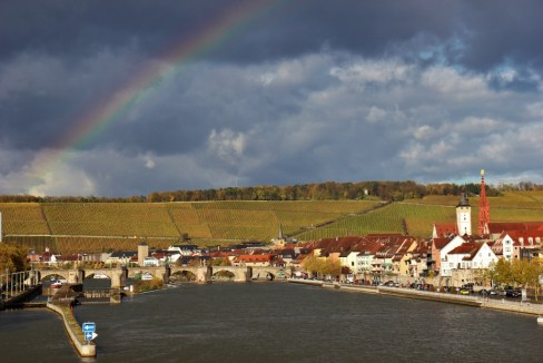 Rainbow over Main River in Wurzburg, Germany