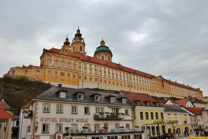 Melk Abbey sits above the town of Melk, Austria