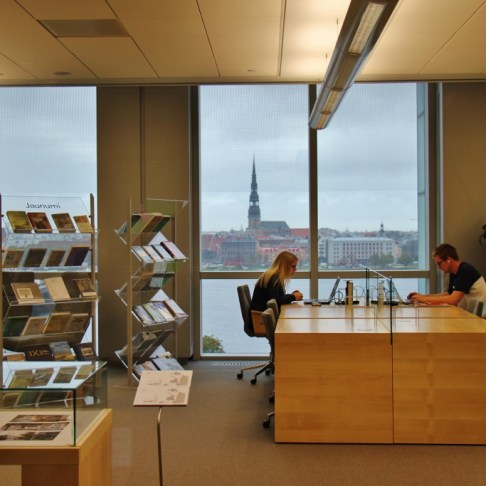 Reading room with a view at the National Library of Latvia in Riga, Latvia