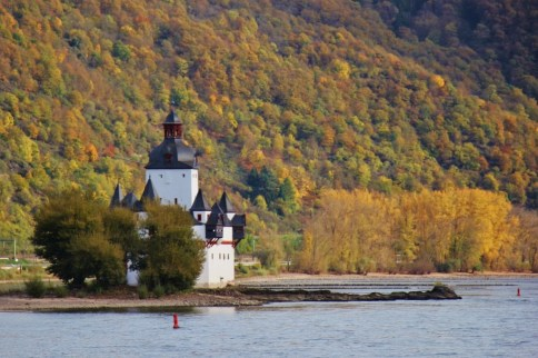 Pfalzgrafenstein Castle on island on Romantic Rhine River in Germany