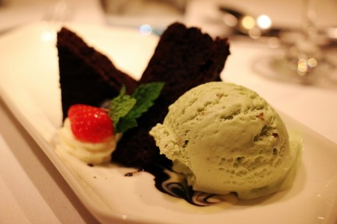 Pistachio ice cream with brownies dessert on Viking Amsterdam to Budapest Cruise