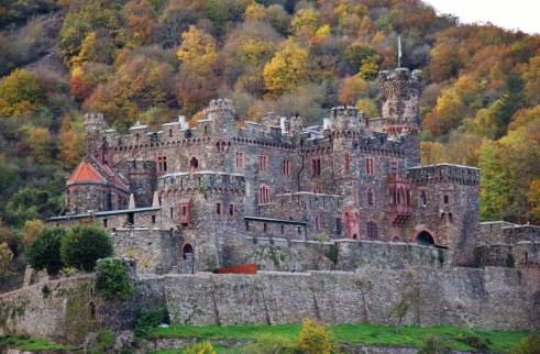 Reichenstein Castle on Romantic Rhine River in Germany