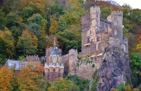 Rheinstein Castle on Romantic Rhine River in Germany