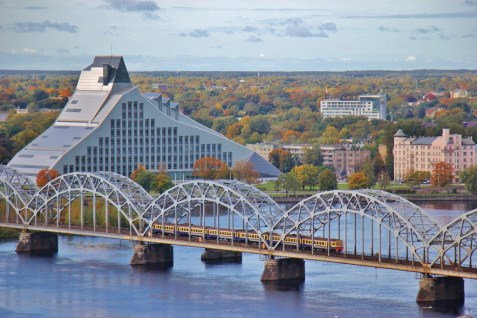Latvian National Library and Dzelzcela train bridge in Riga, Latvia