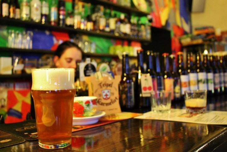 Pint of craft beer at TAKA Cafe Bar in Riga, Latvia