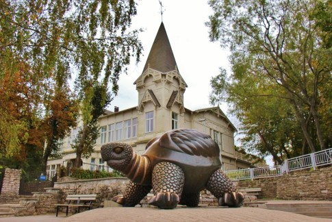 Giant sculpture, The Turtle, at the Sea Pavilion in Jurmala, Latvia