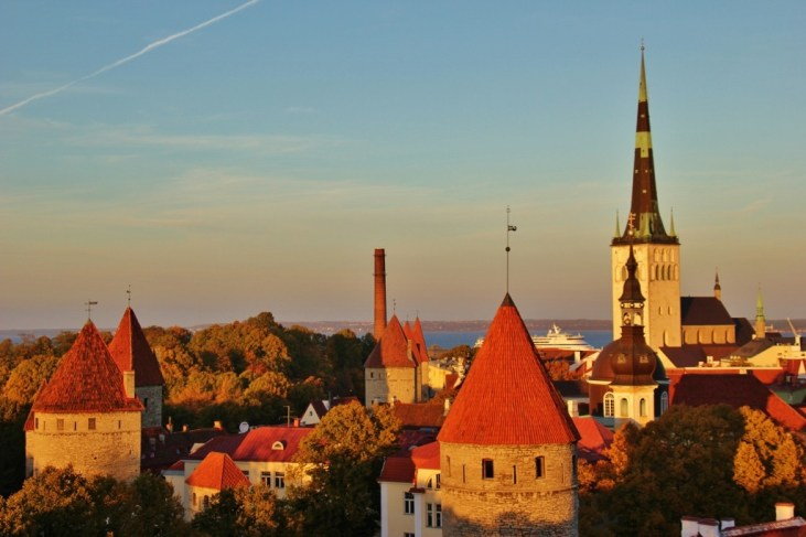 Sunset on Towers and Church Steeples from Patkuli viewing platform in Tallinn, Estonia