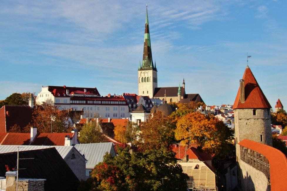 View of old town wall and St. Olaf's from Hellemann Tower in Tallinn, Estonia