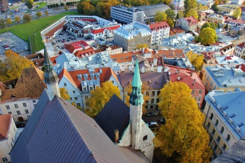 Looking down at St. Olaf's Church from bell tower in Tallinn, Estonia