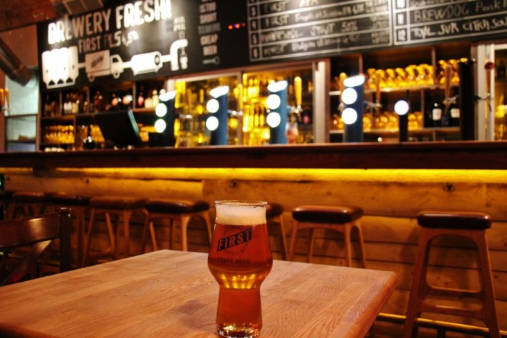 Beer at First Craft Beer and BBQ taproom in Budapest, Hungary