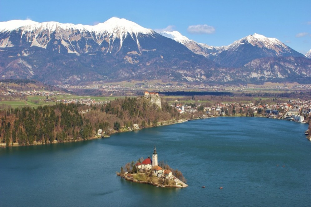 Bled Island from Ojstrica Viewpoint at Lake Bled, Slovenia