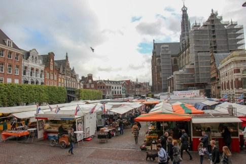 Market day on Grote Markt Haarlem in Haarlem, Netherlands