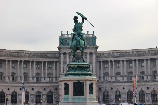 Archduke Charles statue at Neue Burg Hofburg Palace on Heldenplatz in Vienna, Austria