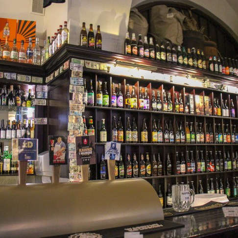 Beer bottles at House of Beer Craft Beer Bar in Krakow, Poland