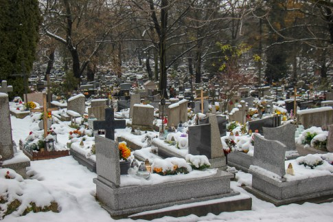 Gravestones at New Podgorze Cemetery in Krakow, Poland