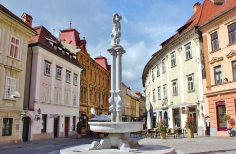 Fountain in Old Square in Ljubljana, Slovenia