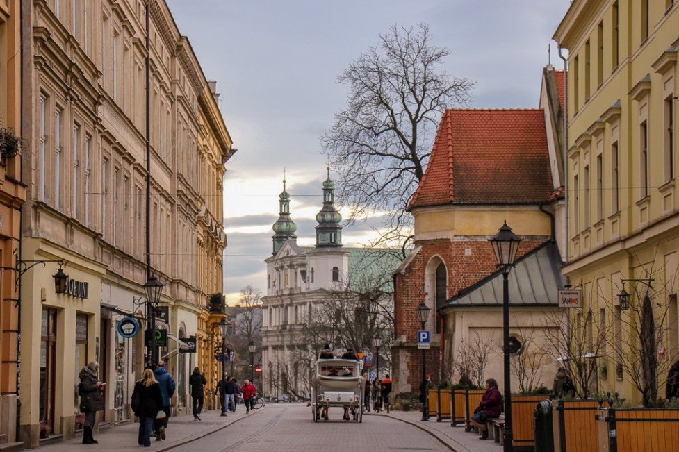Pretty Old Town Street in Krakow, Poland