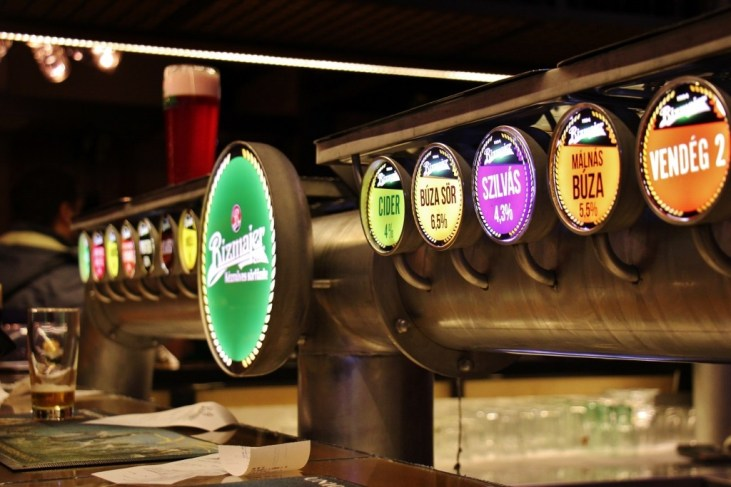 Beer taps at Rizmajer Sorhaz Microbrewery in Budapest, Hungary