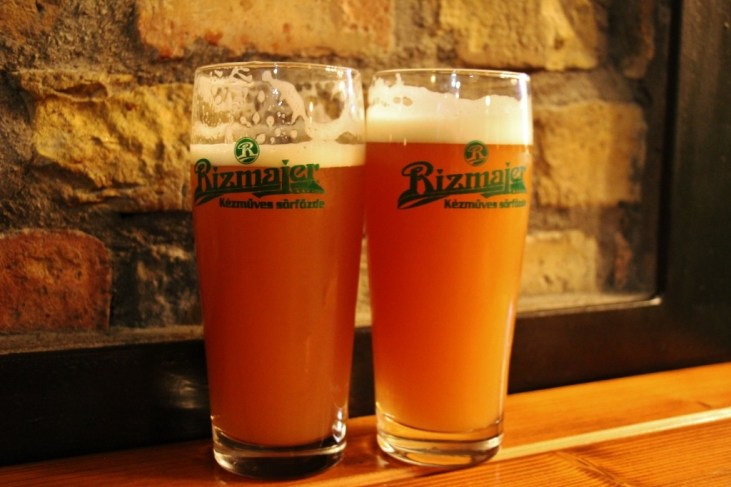 Two beers at Rizmajer Sorhaz craft beer bar inBudapest, Hungary