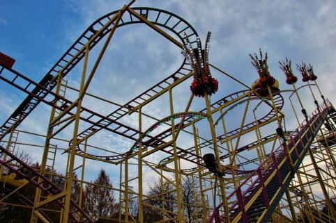 Roller coaster tracks at Wurstelprater Amusement Park in Vienna, Austria