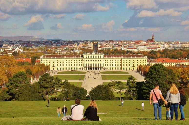 Palace view from Schonbrunn Palace Gardens in Vienna, Austria