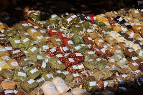 Spices for sale at Naschmarkt in Vienna, Austria