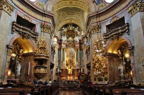Baroque interior of St. Peter's Church in Vienna, Austria