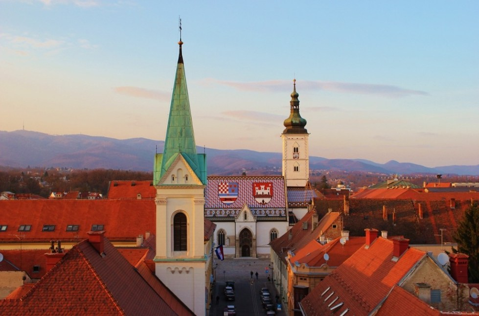 Sunset on St. Mark's Church in Zagreb, Croatia