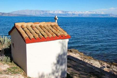 Seaside church in Jelsa on Hvar Island, Croatia
